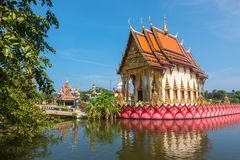 KOH SAMUI, THAILAND - December 14, 2017: Wat Plai Laem temple on Koh Samui island in Thailand royalty free stock photo