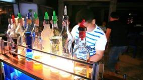 Koh Samui. Thailand. 2014 july 18. Barman to do a stock video footage