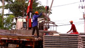 KOH SAMUI, THAILAND - JUNE 21: Crane activity at Stock Photos