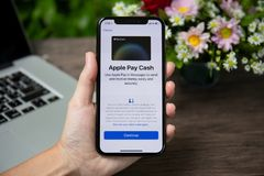 Woman hand holding iPhone X with Apple Pay Cash stock image