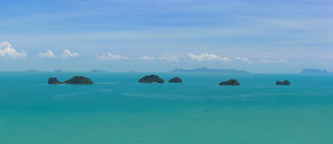 Koh Samui View And Five Islands. A view from the south west coast of Koh Samui in the Gulf of Thailand stock photography