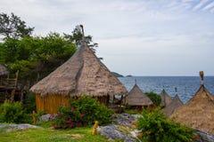 Borneo style huts at Koh Sichang,Chonburi,Thailand Royalty Free Stock Images
