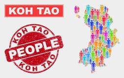 Koh Tao Map Population Demographics e filigrana impuro ilustração do vetor