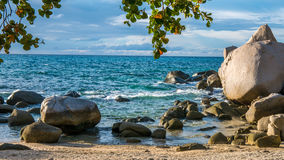 Koh Tao - a Paradise Island Some Rocks in Sunset Light in Thailand Stock Photos