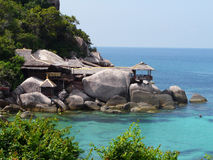 Koh Tao sea. Hotel on the rock, Thailand most well known diving place, Koh Tao Royalty Free Stock Image