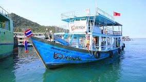 Koh tao thailand - march 6,2018 : diving tour boat approach to koh tao port ,koh tao one of most popular traveling destination in. Southern of thailand stock video