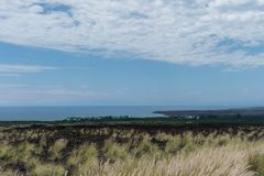Kohala在夏威夷的大岛的海岸远景在火山爆发后的 图库摄影