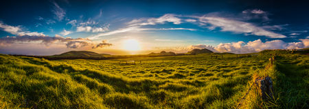 Kohala Sunset. A panorama stretching over the entirety of the north edge of Hawai'i Royalty Free Stock Image