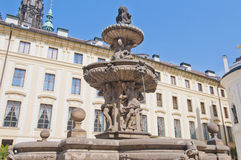 Kohl Fountain at the Castle of Prague Stock Photos