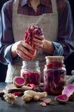 Kohl kimchi im Glasgefäß Frau, die purpurrotes Kohl- und Wassermelonenrettich kimchi vorbereitet Gegorene und vegetarische probio stockfotografie