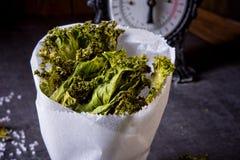Kohlchips des strengen Vegetariers mit Seesalz Stockfotografie