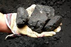 Kohle in der Hand Stockfotografie