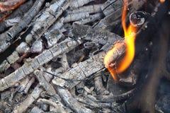 Kohle- und Holzasche lizenzfreie stockbilder