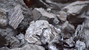 Kohlen, die Feuer-nahes hohes fangen stock footage