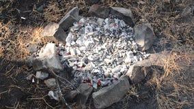 Kohlen, die im Feuer schwelen stock video