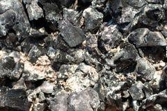 Kohlen in einem ausgestorbenen Feuer Nat?rlicher Hintergrund ?berreste der h?lzernen Kohle und der Asche nach der Verbrennung des stockfotos