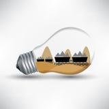 Kohlenenergie-Mechanismusarbeit für Lampenideenvektor lizenzfreie abbildung