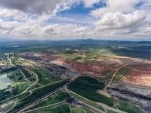 Kohlengrube in der Vogelperspektive Stockfotografie