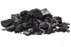 Kohlenmineralsteinhintergrund lokalisiert auf Weiß Stockbilder