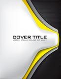 Kohlenstoff-Faser-Abdeckung mit Gelb und Silber Stockbild