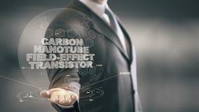 Kohlenstoff-Nanoröhrchen-Feldeffekttransistor mit Hologrammgeschäftsmannkonzept stock footage