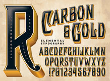 Kohlenstoff-u. Goldgewohnheits-Alphabet vektor abbildung
