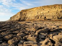 Kohlestoffhaltige Schichten Kalkstein- und Schieferklippen bei Dunraven bellen, Tal von Glamorgan, Südwales stockbild