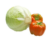Kohlkopf und zwei Gemüsepaprikas Lizenzfreie Stockfotos