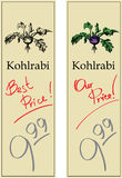 Kohlrabi. Two Price Tags with Vintage Effect Royalty Free Stock Photos