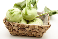Kohlrabi in the basket Stock Photos