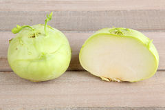 Kohlrabi. On a cutting board Royalty Free Stock Images
