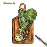 Kohlrabi on a cutting board. harvesting. colored illustration. Stock Photos