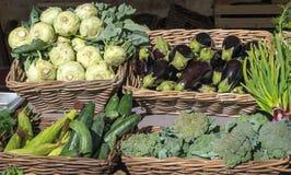 Kohlrabi, eggplant and broccoli for sale Royalty Free Stock Photo