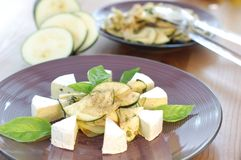 Kohlrabi salad with cheese Royalty Free Stock Images