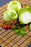 Kohlrabi, tomatoes and young peas Royalty Free Stock Photo