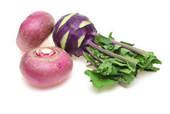 Kohlrabi and turnip a white background Stock Images