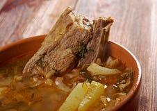 Kohlsuppe mit Fleisch Stockbild