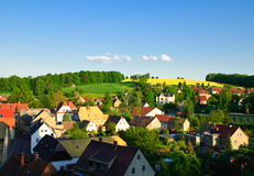 Kohren-Sahlis. Old city of potters before a sunset with floating clouds on horizon a summer landscape Stock Photography
