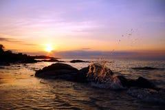 海和海滩在KohSamet Rayong泰国 免版税库存照片