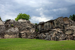 Kohunlich Mayan Ruins Apartments. Near the port village of Costa Maya are the Mayan Ruins of Kohunlich on the Yucatan Peninsula in Mexico Royalty Free Stock Images