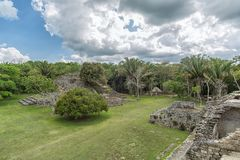 Kohunlich in Quintana Roo Mexico. Kohunlich maya archaeological site in Quintana Roo Mexico Royalty Free Stock Images