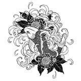 Koi鱼和用手画菊花的纹身花刺 库存照片