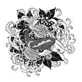 Koi鱼和用手画菊花的纹身花刺 免版税库存图片