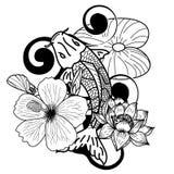 Koi鱼和花日本人纹身花刺 库存照片