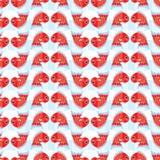 Koi鱼红色对称垂直的无缝的样式 免版税图库摄影