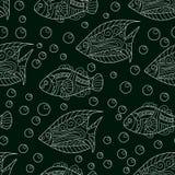 Koi鲤鱼无缝的背景 深蓝和金子 向量例证