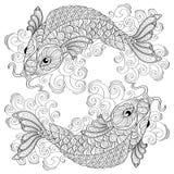 koi рыб Китайские карпы pisces Взрослая antistress страница расцветки Стоковое Изображение RF