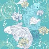 鲤鱼无缝koi的模式 图库摄影