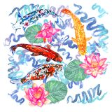 Koi carp collection swimming in pond with blue waves with pink lotus flowers. Hand painted watercolor illustration, top view Royalty Free Stock Images