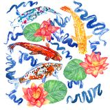 Koi carp collection swimming in pond with blue waves, red lotus flowers with leaves. Hand painted watercolor illustration, top view Stock Images